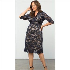 Kiyonna Navy Scalloped Boudoir Lace Dress NWOT